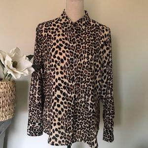 Cynthia Rowley Leopard Print Blouse, Size Large